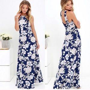 Lulu's In Blossom Blue floral maxi dress